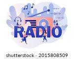 radio   big text. tiny people... | Shutterstock .eps vector #2015808509