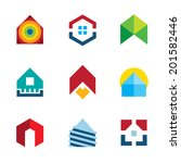 Stock vector house residential build construction real estate logo colorful icon set 201582446