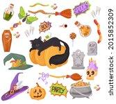 black kitten. candy  costumes ... | Shutterstock .eps vector #2015852309