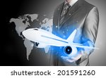 businessman with airplane over... | Shutterstock . vector #201591260