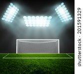 soccer ball on green stadium... | Shutterstock . vector #201591329