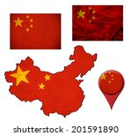 grunge china flag  map and map... | Shutterstock . vector #201591890