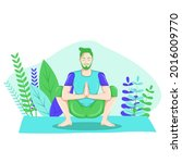 young man practicing yoga with...   Shutterstock .eps vector #2016009770
