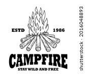 emblem template with campfire....   Shutterstock .eps vector #2016048893