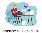 procrastination concept. home... | Shutterstock .eps vector #2016071276