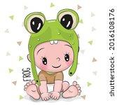 cute cartoon baby boy in a frog ...   Shutterstock . vector #2016108176