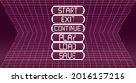 pink retro game menu with...