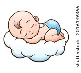 cute baby is sleeping on the... | Shutterstock .eps vector #2016149366