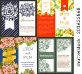 set of invitations with floral... | Shutterstock .eps vector #201622868