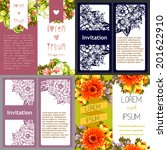 set of invitations with floral...   Shutterstock .eps vector #201622910