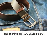 Men's Leather Belt With Metal...