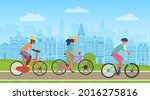 people ride bicycles on city...   Shutterstock .eps vector #2016275816
