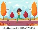 black woman jogging in the... | Shutterstock .eps vector #2016325856