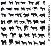 Stock vector various breeds many dogs black silhouettes 201632909