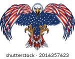 american eagle with usa flags  | Shutterstock . vector #2016357623
