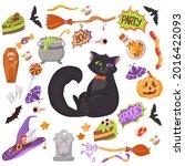 black kitten. candy  costumes ... | Shutterstock .eps vector #2016422093