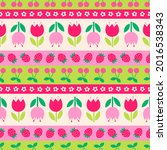 cute floral and fruit seamless...   Shutterstock .eps vector #2016538343