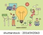 people holding green energy...   Shutterstock .eps vector #2016542063