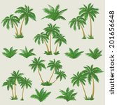 set tropical palm trees with... | Shutterstock .eps vector #201656648