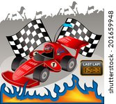 racing car with flames. | Shutterstock .eps vector #201659948
