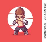 brave and cool muay thai boxing ...   Shutterstock .eps vector #2016629150