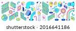 sticker pack of funny cartoon...   Shutterstock .eps vector #2016641186