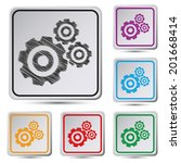 set of colorful square button...