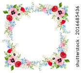 vector floral frame with red ... | Shutterstock .eps vector #2016685436
