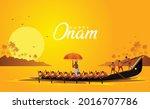 happy onam kerala boat race... | Shutterstock .eps vector #2016707786