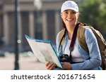 beautiful young woman touring... | Shutterstock . vector #201671654