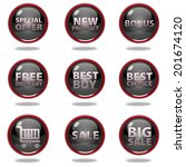 shop button set on white... | Shutterstock . vector #201674120