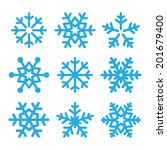 snowflakes blue vector icons... | Shutterstock .eps vector #201679400