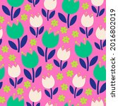 cute hand drawn floral seamless ...   Shutterstock .eps vector #2016802019