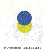 the ukrainian flag is sewn with ...   Shutterstock .eps vector #2016831653