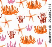seamless pattern with corals... | Shutterstock .eps vector #2016862943