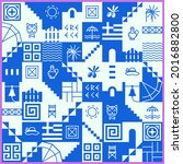 greek pattern with square tiles ...   Shutterstock .eps vector #2016882800