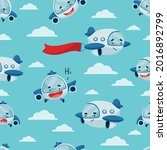 seamless pattern with a funny... | Shutterstock .eps vector #2016892799