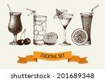 vector set of vintage cocktails ... | Shutterstock .eps vector #201689348