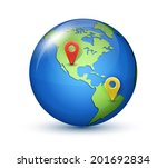 glossy globe with marks. vector ...