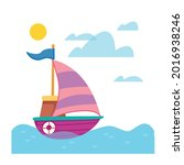 a cartoon ship with a striped... | Shutterstock .eps vector #2016938246
