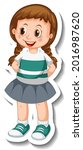sticker template with a girl in ... | Shutterstock .eps vector #2016987620