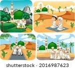 set of muslim people cartoon... | Shutterstock .eps vector #2016987623