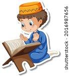 a sticker template with muslim... | Shutterstock .eps vector #2016987656