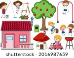 set of many children with a... | Shutterstock .eps vector #2016987659