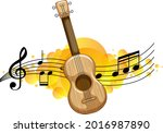 an ukulele or guitar with... | Shutterstock .eps vector #2016987890