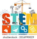 stem education logo with icon... | Shutterstock .eps vector #2016990029