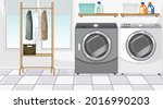 laundry room scene with washing ... | Shutterstock .eps vector #2016990203