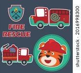 fire rescue car with funny...   Shutterstock .eps vector #2016998300