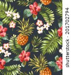 vintage seamless tropical... | Shutterstock .eps vector #201702794