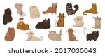 cute and funny cats doodle... | Shutterstock .eps vector #2017030043
